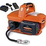 SuperHandy Electric Portable Winch Hoist 1000Lbs/455Kgs Max Weight 20' Feet/6m Polyethylene Cable w/Locking Knob Brushless Motor Li-Ion Powered for ATV Truck Boat Trailer etc.