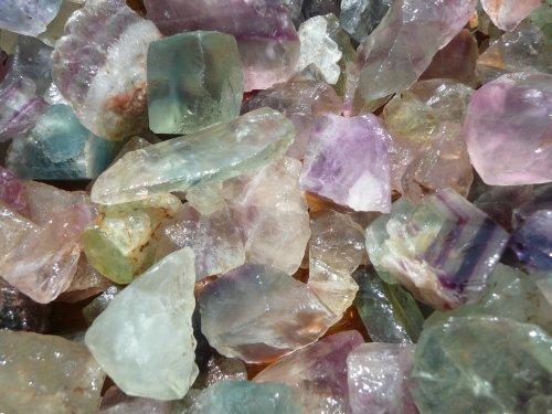 Fantasia Materials: 1 lb Rainbow Fluorite Rough Stones from...