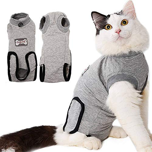 DogLemi Cat Recovery Suit for Abdominal Wounds and Skin Diseases, Professional After Surgey Wear Soft Comfort E-Collar Cone Alternative for Small Medium Cats Kitten Wounds Skin Diseases
