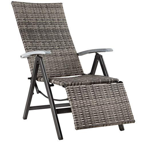 TecTake 800720 Aluminium Poly Rattan Relaxsessel mit Fußablage, klappbar & verstellbar, für Garten, Balkon & Terrasse, Gartenstuhl, witterungsbeständig - Diverse Farben - (Grau | Nr. 403217)