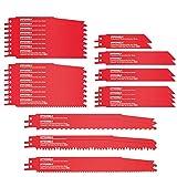 Säbelsägeblätter, HYCHIKA 32PCS zum Schneiden von Metall und Holz mit Organizer Koffer