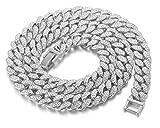 Halukakah Chaîne Homme Argent,Collier et Bracelet 14mm Chaîne Cubaine,Plaqué...