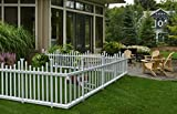 Zippity Outdoor Products ZP19001 No Dig Madison Vinyl Picket Fence, White, 30' x 56' (1 Box, 2 Panels), 1 x Pack of 2