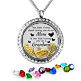 Grandma Necklace   Mother Daughter Necklace for Mom   Grandma Jewelry Floating Charm Mothers Necklace   Floating Charm Locket Gift Set   Mothers Necklace New Grandma Gifts Mom Daughter Necklace