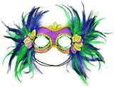 Mask It 48035 Mardi Gras Satin and Feather Half Mask, Purple