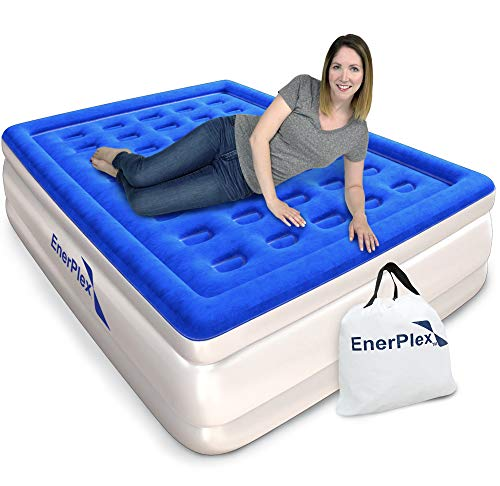 EnerPlex Luxury Queen Deluxe Raised Air Mattress with Built in Pump Flocked Top Inflatable Upgraded...
