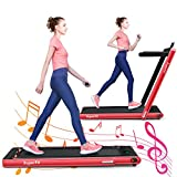 GYMAX Under Desk Treadmill, Foldable Multifunctional Running Treadmill/Flat Walking Machine, Portable Electric Motorized Running Machine with Bluetooth Speakers, Remote Controller for Home/Gym (Red)