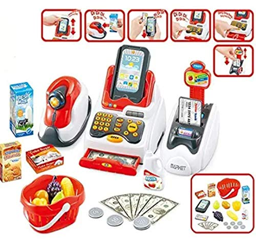 High Trusted Toys Happy Cash Register for Kids with Checkout Scanner,Fruit Card Reader, Credit Card Machine, Play Money and Food Shopping Play Set,Plastic,Multi color, Pack of 20+ acc