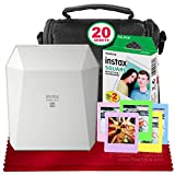 Fujifilm Instax Share Smartphone Printer SP-3 (White) with 20 Sheets Instant of Film, Deluxe Camera Case, and FiberTique Cloth (USA Warranty)