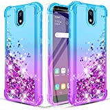 Donse LG K30 2019 Case/LG Escape Plus case/LG Arena 2/LG Journey LTE/LG Tribute Royal Phone Case W/HD Screen Protector[2 Pack] Four-Corner Quicksand Slim Shockproof Protective Clear Teal/Purple