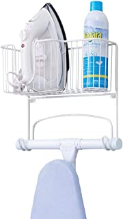 mDesign Metal Wall Mount Ironing Board Holder with Large Storage Basket – Easy..