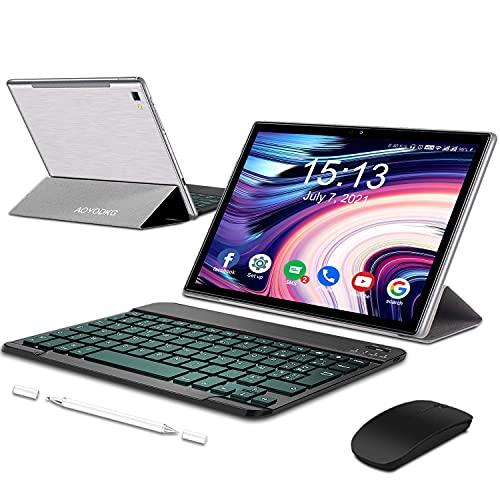 Tablet 10.1 Pollici Android 10Tablets con 5G WiFi 4G LTE Dual SIM, Octa-Core, 6 GB RAM + 64 GB ROM,512GB Espandibili, 1920*1200 Full HD IPS, 8MP+5MP Doppia Fotocamera, con Tastiera e Mouse (Argento)