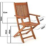 Deuba Sitzgruppe Sydney 4+1 Akazienholz 5-TLG Tisch klappbar Sitzgarnitur Holz Garten Möbel Set - 8