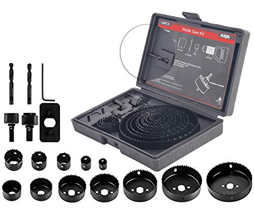 KATA 17PCS Hole Saw Kit 3/4'-5'(19-127mm) Hole Saw Set with Mandrels,Hex Key,Install Plate,Ideal for Soft Wood,Plywood,Drywall,PVC