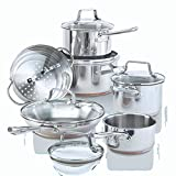 Paderno 12-Piece Stainless-Steel Copper Core Cookware Set | Kitchen Pots and Pans Set with Covered Steamer