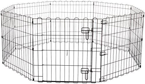 Amazon Basics - Recinzione in metallo per cani, pieghevole, per lesercizio, 152,4 x 152,4 x 60,9 cm