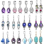 VALUE PACK: There comes 12 pairs of drop earrings with insert, different styles and colors, offer you more options to choose to wear everyday.Heart shaped, crystal, water drop, leaf surround, retro style.This set of earrings is very suitable for wome...