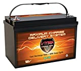 Vmaxtanks VMAXSLR125 AGM 12V 125Ah SLA Rechargeable Deep Cycle Battery for Use with Pv Solar Panels Smart chargers, Wind Turbines and Inverters and Backup Power (12 Volt 125Ah Group 31 AGM)