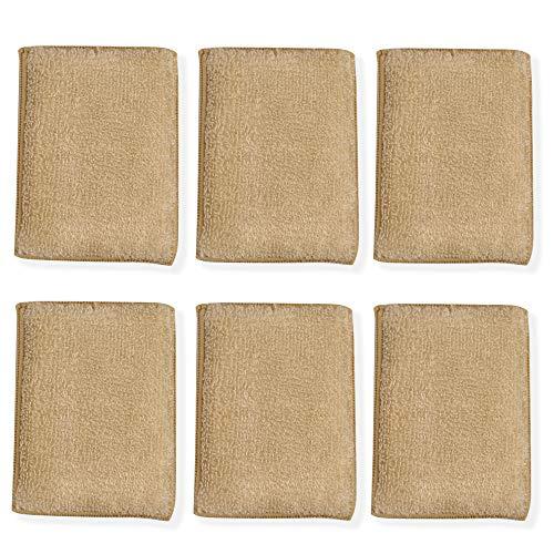 Spugne antibatteriche per la pulizia del bamb - Confezione da 6 | Cuscinetti da cucina multi-microfibra per raschiatura | Lavasciuga piatti a doppio lato antigraffio | M&W