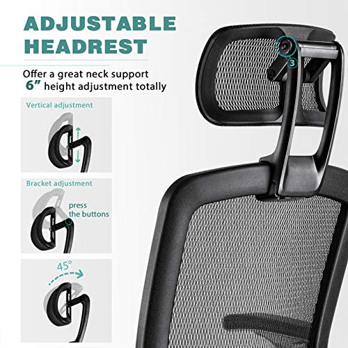 Product Image 4: Gabrylly Ergonomic Mesh Office Chair, High Back Desk Chair - Adjustable Headrest with Flip-Up Arms, Tilt Function, Lumbar Support and PU Wheels, Swivel Computer Task Chair