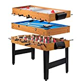 Giantex Multi Game Table, 3-in-1 48' Combo Game Table w/ Soccer, Billiard, Slide Hockey, Wood Foosball Table, Perfect for Game Rooms, Arcades, Bars, Parties, Family Night