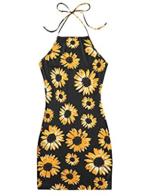 Polyester and Spandex, slight stretchy and soft Floral print, tie knot back, halter neck, backless, above knee length bodycon dress Great for vacation, beach, party, work, date, nightout and casual This dress can perfectly show your body curve, pair ...