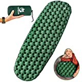 Camping Sleeping Pad - Ultralight Air Camping Mat - Best Inflatable Sleeping Pads for Camping, Backpacking, Hiking Air Mattress - Lightweight, Compact, Durable (Green)