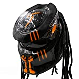 Predator Motorcycle Helmet – DOT Approved – Custom Made, Fibreglass, Unisex for Powersports, Sports, and Outdoor - Orange Chaos