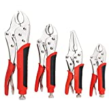 FASTPRO 4-Piece Locking Pliers Set With Heavy Duty Grip, 5', 7' and 10' Curved Jaw Locking Pliers, 6-1/2' Long Nose Locking Pliers Included, Vise Grip Wrench Set