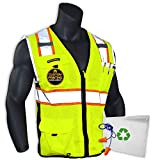 KwikSafety (Charlotte, NC) BIG KAHUNA (Large Yellow) | 11 Pockets Class 2 ANSI High Visibility Reflective Safety Vest Heavy Duty Mesh with Zipper and HiVis for OSHA Construction Work HiViz Men