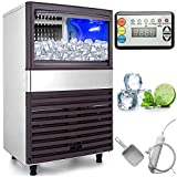 VEVOR 110V Commercial Ice Maker 155LBS in 24Hrs with 44lbs Storage 55 Cubes Stainless Steel Portable Automatic Auto Clean for Home Supermarkets, Includes Scoop and Connection Hose