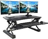 VIVO Black Deluxe Height Adjustable 36 inch Standing Desk Converter | Sit Stand Tabletop Dual Monitor and Laptop Riser Workstation (DESK-V000DB)