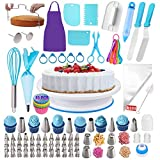 Cake Decorating Supplies Kit 268pcs Baking Supplies for Beginners,Cake Decorating Tools Set with Piping Bags and Tips Set,1 Cake Turntable Stand 48 Icing Tips 2 Spatulas 4 Russian Piping tips