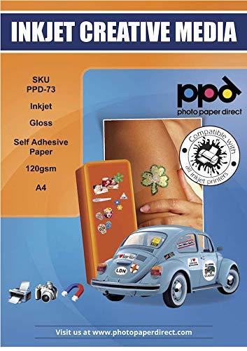 PPD A4 x 50 Blatt Inkjet 120 g/m2 Fotopapier glänzend selbstklebend - Hochglanz Blanko Etiketten für Tintenstrahldrucker für Ausdrucke in Fotoqualität DIN A4 x 50 Blatt PPD-73-50