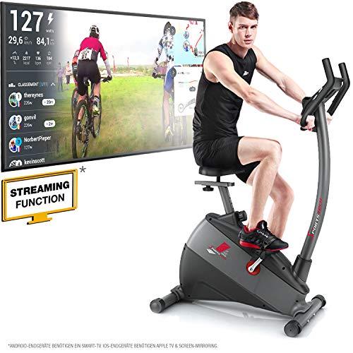 Sportstech VORBESTELLER Ergometer ESX500 mit Smartphone App Steuerung + 5,5 Zoll Display, 12KG Schwungmasse, Pulsgurt kompatibel – Fitness Bike Heimtrainer mit flüsterleisem Riemenantrieb (ESX500)