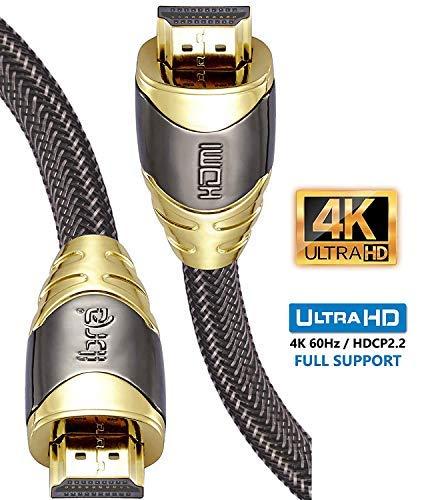 4K HDMI Kabel 2M HDMI 2.0b Kabel 4K@60Hz HighSpeed 18Gbps Nylon Geflecht Vergoldete Anschlüsse mit Ethernet/Audio Rückkanal,Kompatibel mit Video 4K UHD 2160p,HD 1080p,3D Xbox PS4-IBRA Luxury