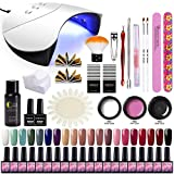 Saint-Acior 36W UV/LED Lampe Kit Poly UV Gel Extension Construction Gel à Ongles Quick Building 20pc Vernis Semi Permanent Cleanser Plus Base Coat Top Coat Manucure Nail Art