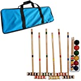 Croquet Set- Wooden Outdoor Deluxe Sports Set with Carrying Case- Fun Vintage Backyard Lawn Recreation Game, Kids or Adults by Hey! Play! (6 Players)