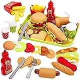 Buyger Jeu D'imitation Cuisine Set Hamburgers Et Hotdogs Jouet de Plateau pour...