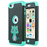 ULAK iPod Touch 7th Generation Case, iPod Touch 6 Case, Heavy Duty Shockproof High Impact Protective Case with Dual Layer Soft Silicone + Hard PC for Apple iPod Touch 7/6/5, Mint Green Cat