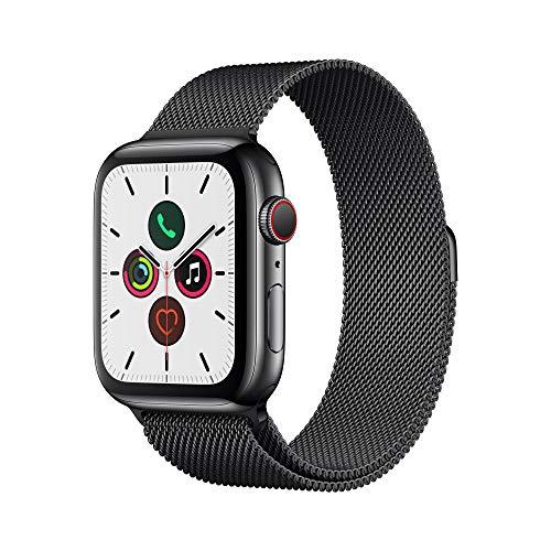 Apple Watch Series 5 (GPS + Cellular, 44mm) Space Black Stainless Steel with Space Black Milanese Loop