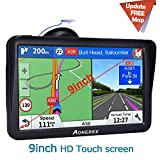 Car GPS,Aonerex 2019 Newest 9 inch Truck GPS Navigation Device with Sunshade POI Voice Guidance Lane Assistant FM Car Navigation, with Built-in Free Lifetime Maps