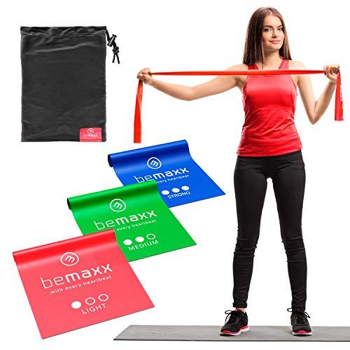 Fasce Elastiche Fitness Set di 3 / Lunghi 2 Metri Bande Resistenza + eBook di Esercizio e Borsa |...