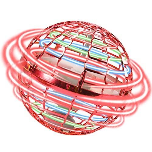FORMIZON Mini UFO Drone per Bambini e Adulti, Giocattolo Volante, Rotanti A 360 con luci Auto-Avoid Ostacoli, Palla Volanti Compleanno Regali Ragazzi Ragazze Giocattoli da Giardino Interni (Rosso)