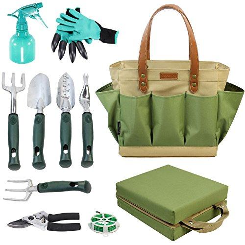 Bolsa de herramientas de jardín con 11 herramientas de mano, mejor regalo de jardinería, organizador con kit de herramientas de jardín de verduras, almohadilla de rodillera gratis