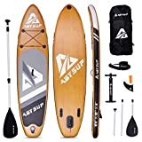 """ABYSUP Paddle Boards, 10'6"""" Inflatable Paddle Board, SUP, Paddleboard with All Accessories & Carry Bag, Non-Slip Deck SUP Paddle Board, Anti-Sink Paddl&Pump Included, Color Black & Pine Wood, SUP125"""
