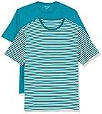 Amazon Essentials 2-Pack Loose-Fit Crewneck T-Shirt Fashion, Teal-White Stripe/Teal, 44-46, Lot de 2
