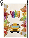 YaoChong Welcome Back to School Garden Flag Double Sided Gift for Children 12.5 x 18.5 Inch, School Supplies Colorful Pencil School Bus Outdoor Yard Lawn Decorative