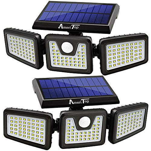 Solar Lights Outdoor, AmeriTop 128 LED 800LM Wireless LED Solar...