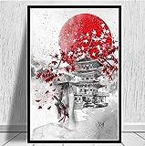 NVRENHUA Cartel japons Zen Tinta Bonsai Bushido Samurai Kanji Lienzo Arte Pintura al leo Cuadros de Pared para Sala de Estar 50 * 70 cm sin Marco